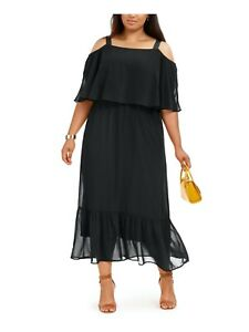 NY-Collection-Plus-Size-Cold-Shoulder-Popover-Maxi-Dress-Black-Choose-Size-NWT