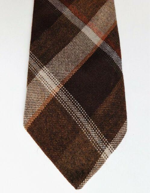 Tartan check country tie vintage British made Scottish plaid brown acrylic 1970s