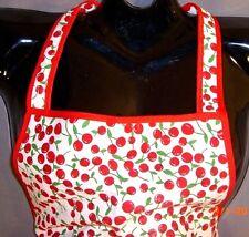 OS~Woman~Cherry Print Full Bib Kitchen APRON~Halter~Rockabilly~Retro~Baking~Cook
