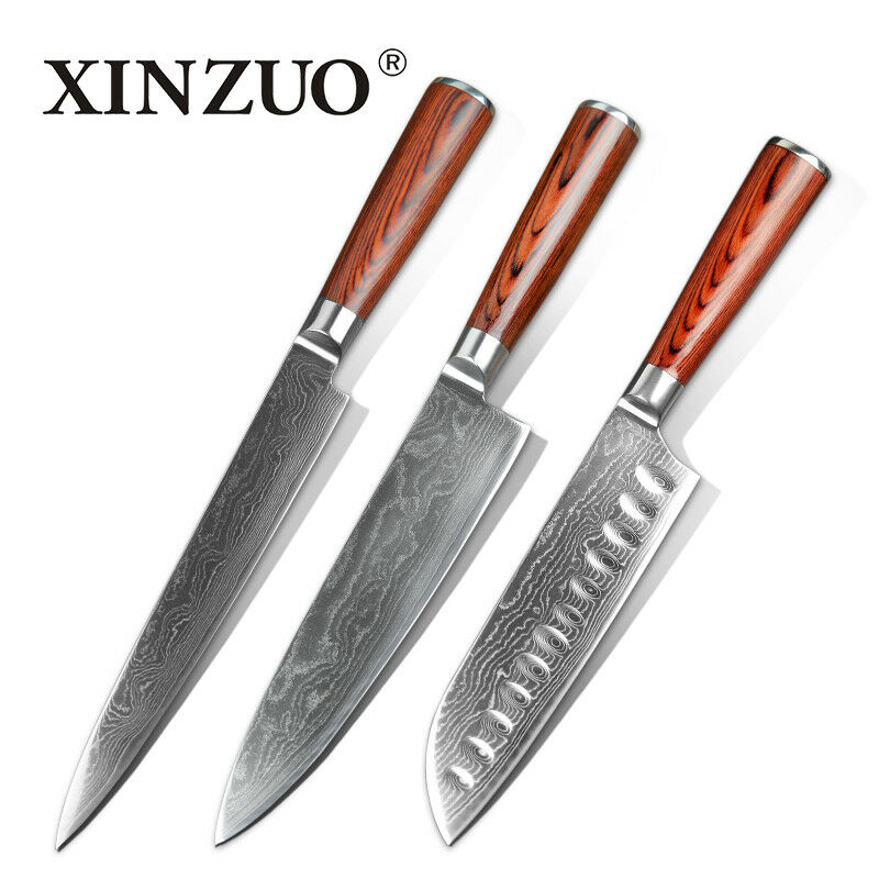 Knife Set 73 Layers Damascus Steel Blade Chef Utility Santoku Kitchen Knives Cut