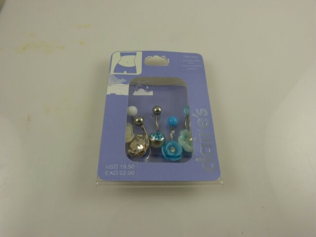 Body Jewelry belly button naval ring piercing body navel crystal teal multi 5