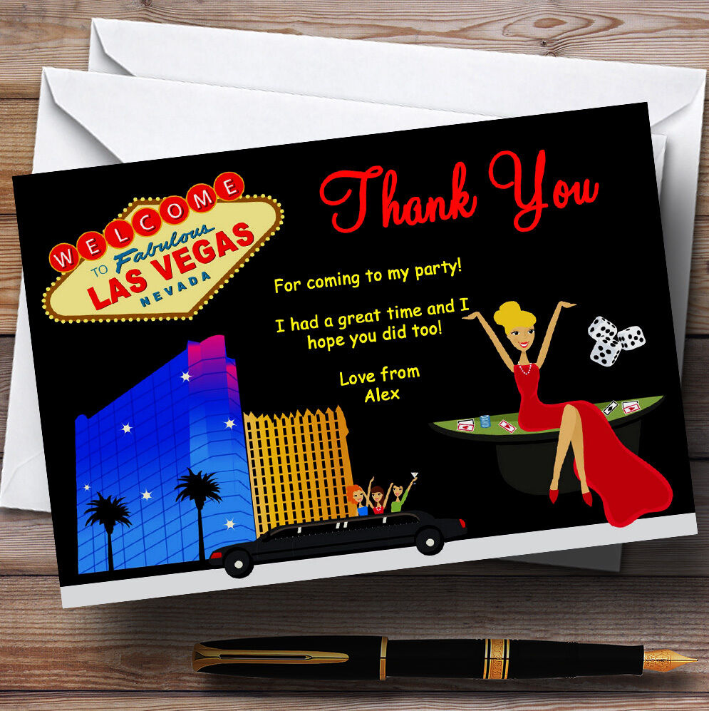 Casino Las Vegas Personalizado Fiesta De Cumpleaños Tarjetas De Agradecimiento