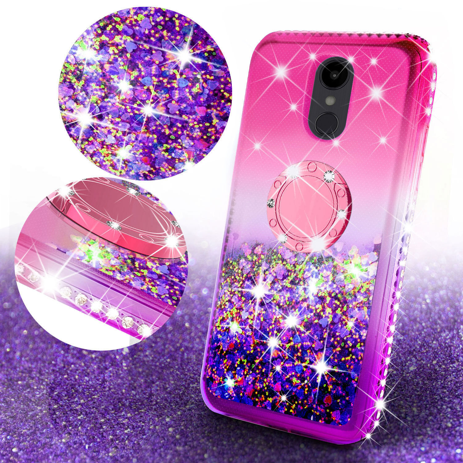 brand new afa14 d5fc8 Details about LG G7/G7 ThinQ Cute Bling Liquid Glitter Shiny Bumper Ring  Kickstand Phone Case