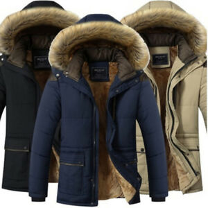 Winter-Warm-Men-039-s-Down-Parka-Cotton-Jacket-Fur-Collar-Thick-Hooded-Coat-Outwear
