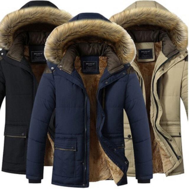 Men's Warm Down Cotton Jackets Fur Collar Thick Winter Hooded Coat Outwear Parka