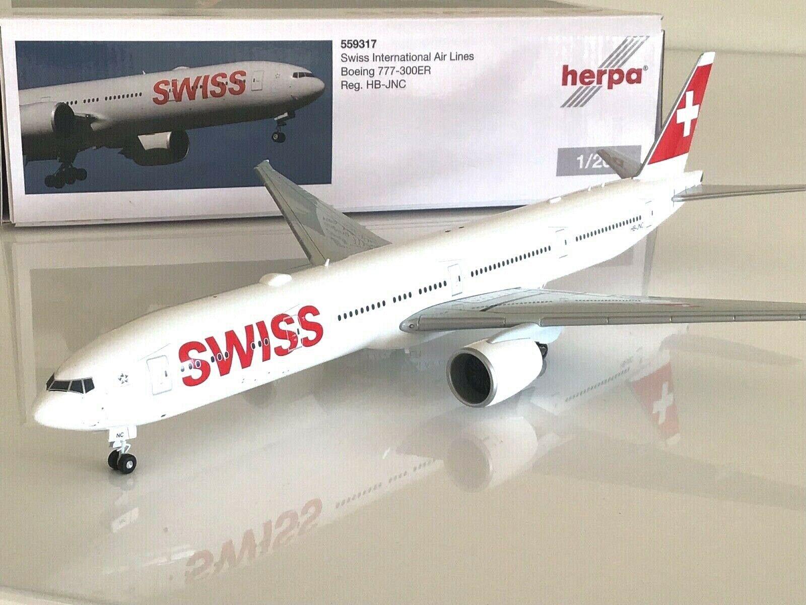 Herpa Wings 1 200 Swiss International Air Lines Boeing 777-300ER HB-JNC  | Einfach zu spielen, freies Leben