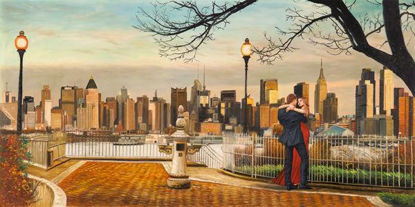 Felice shopping PIERRE BENSON  Lovers In New New New York barella-immagine Schermo paio Skyline città  grande vendita