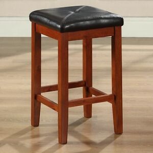 Superb Details About Set Of 2 24 Inch High Cherry Bar Stools W Cushion Faux Leather Seat Evergreenethics Interior Chair Design Evergreenethicsorg