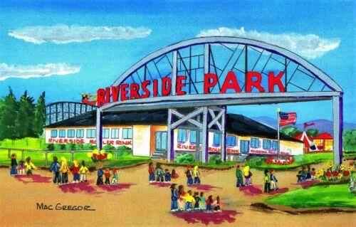 RIVERSIDE PARK ART PRINT Agawam MA Midway Amusement Carnival Rides Six 6 Flags