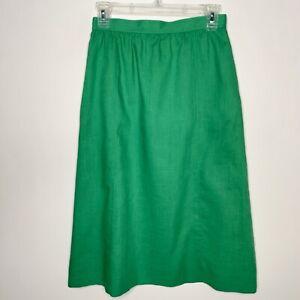 Vintage-S-Pencil-Skirt-Green-Pockets-Modest-No-Slit-Union-Made-USA-Classic