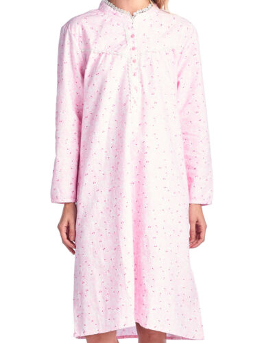 Casual Nights Womens Flannel Floral Long Sleeve Nightgown