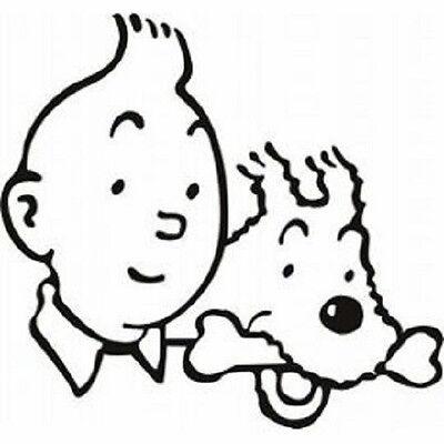 Sticker déco autocollant vinyle adhésif Tintin et Milou