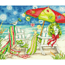 "Christmas Beach Chairs Counted Cross Stitch Kit-12""X10"" 14 Count"