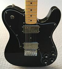 Squier Vintage Modified Telecaster HH Deluxe Electric Guitar In Olympic Black