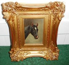 Small Antique Oil Painting Horse Ornate Gilt Gesso Frame