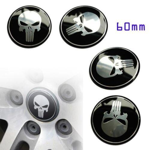 4x 56mm 60mm 65mm Punisher Car Steering Wheel Center Hub Cap Emblem Stickers
