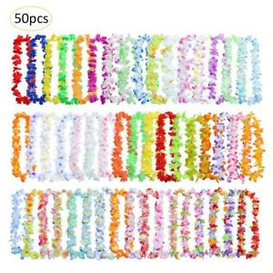 50pcs-Hawaiian-Leis-Necklace-Tropical-Luau-Hawaii-Silk-Flower-Wreath-Party-Decor
