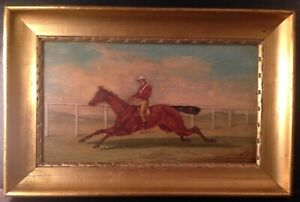 Antique-painting-Oil-19th-century-R-DODD-XIX-Horse-Rider-and-Jockey-c1870