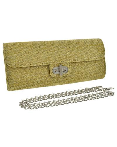 NWT Beige Straw Clutch Bag With Detachable Chain Strap