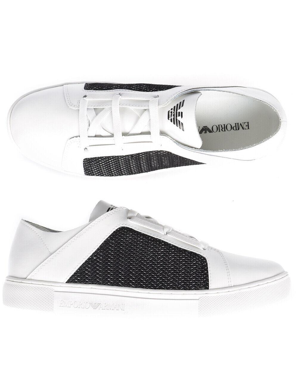 Emporio Armani Chaussures Baskets Cuir Homme Blanc X4C472XL205 A011 Sz41, 5 makeoffer