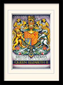 Gott-Save-The-Queen-1953-Britisch-Railways-Gerahmt-amp-Halterung-Aufdruck