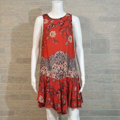c749d125c70e Free People XS Red Floral Printed Drop Waist Flouncy Hem Scoop Back Slip  Dress