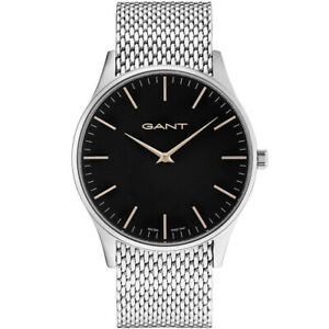 Gant-GT044003-Blake-schwarz-silber-Edelstahl-Armband-Uhr-Herren-NEU