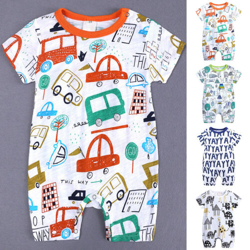 Newborn Baby Boy Cotton Romper Jumpsuit Outfits Short Sleeve Clothes UK 0~18M