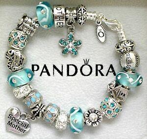 Image Is Loading Authentic Pandora Charm Bracelet Mom Family Blue Aqua