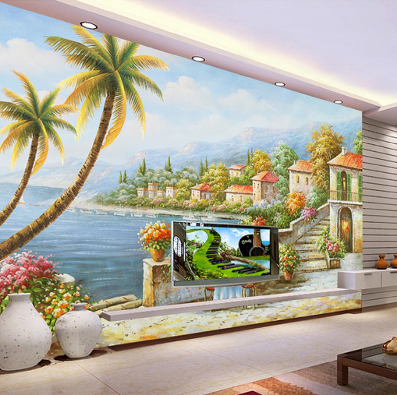 3D Seaside Garten Villa 45 Tapete Tapeten Mauer Foto Familie Tapete Wandgemälde
