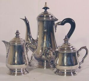 3 pc Silverplate  Demitasse Tea Set Creamer Sugar Teapot India