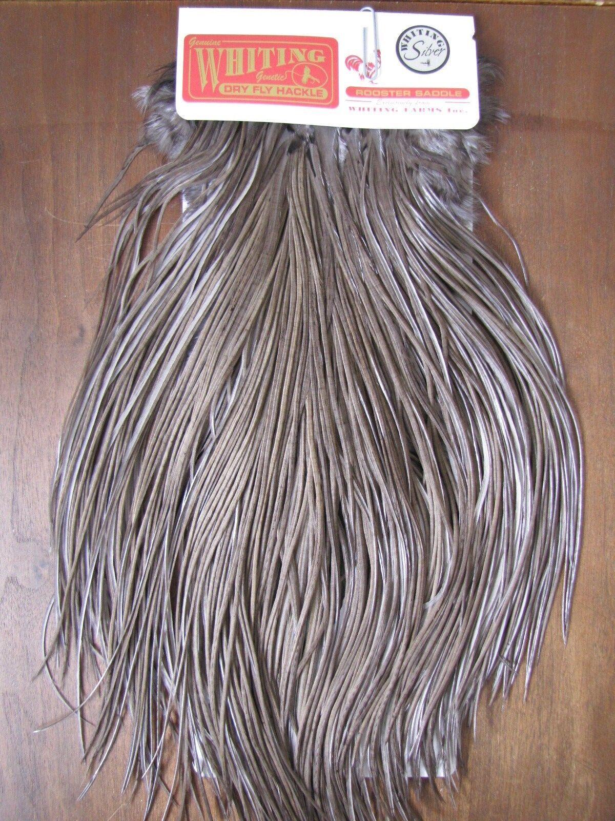 Silla Para Moscas Whiting Plata Gallo blancoo Teñido Oscuro dun   B