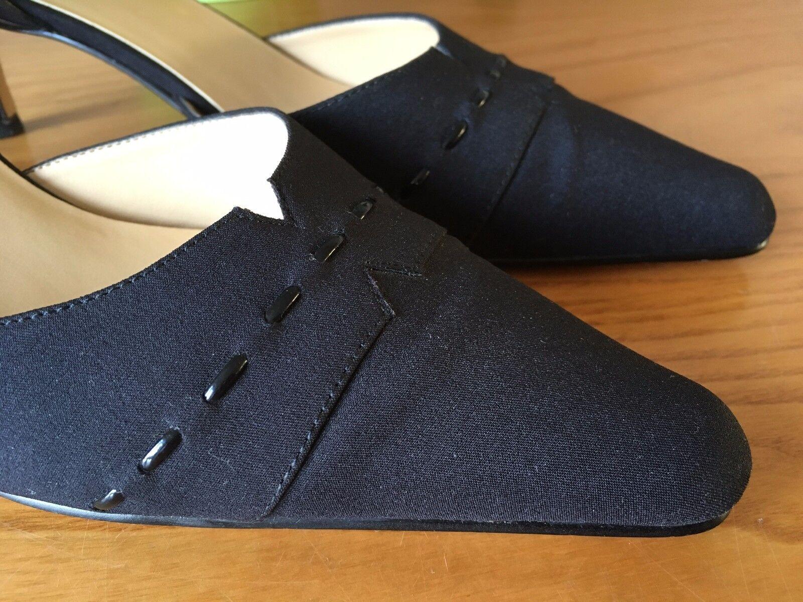 AK Anne Klein Kurt soles Geiger black linen leather soles Kurt court shoes UK 5.5 EU 38.5 84a6f9
