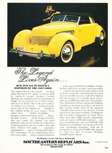 1981 Southeastern Replicars 1937 Cord 815 Classic Vintage Advertisement Ad H18