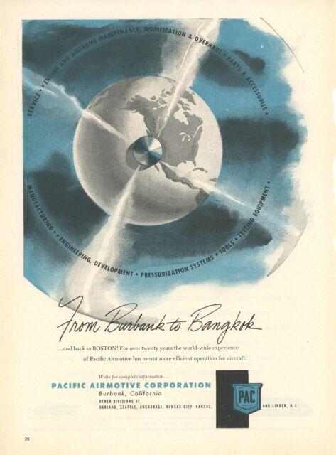 1950 Pacific Airmotive Ad Burbank California Maintenance Base Aviation Airplanes