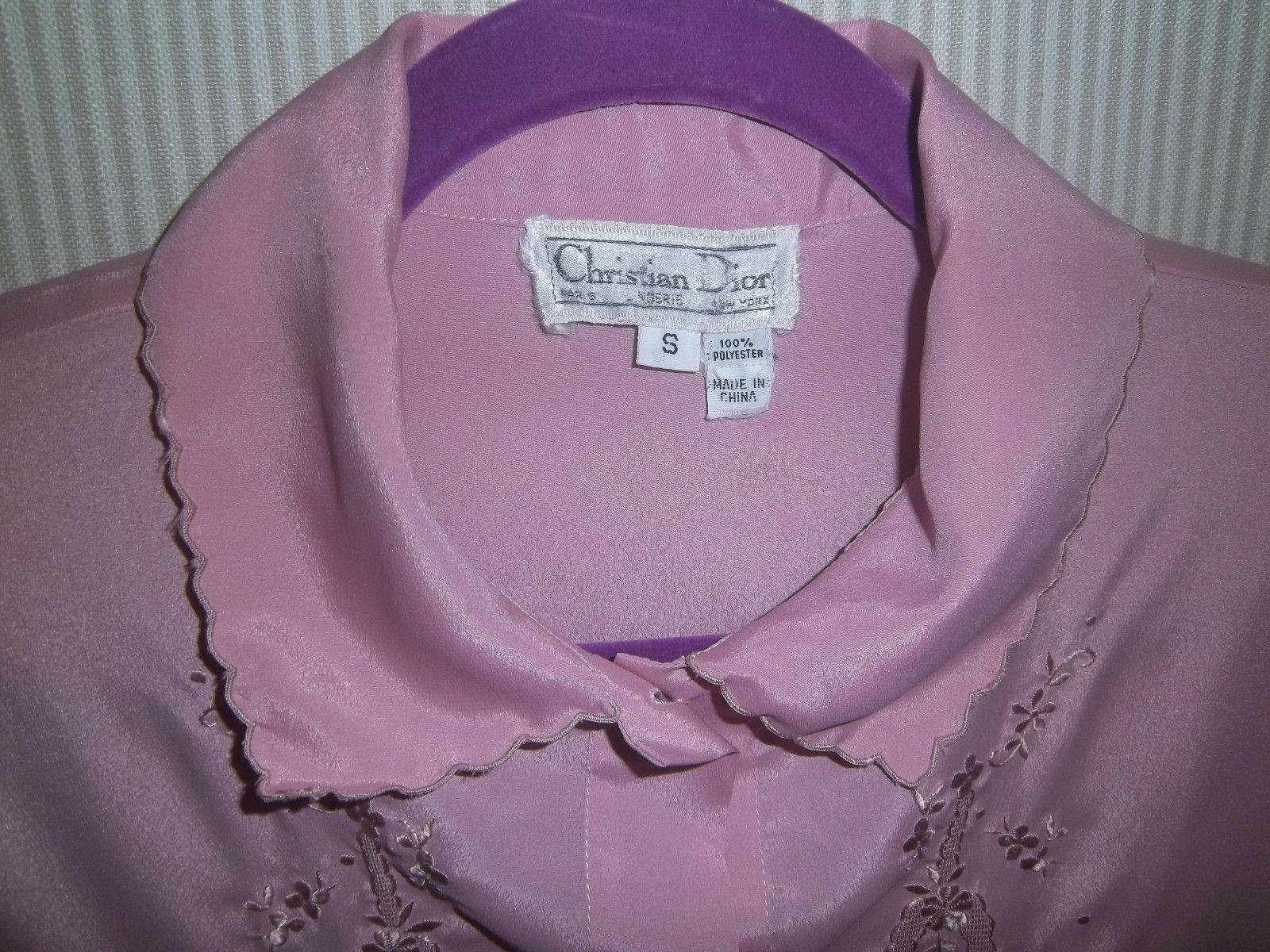 Vintage 1980's Christian Dior Size S Lilac Night … - image 7