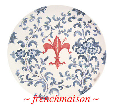 MADE IN ITALY for FRENCHMAISON Italian Hand Painted Ceramic Plate Fleur de Lis