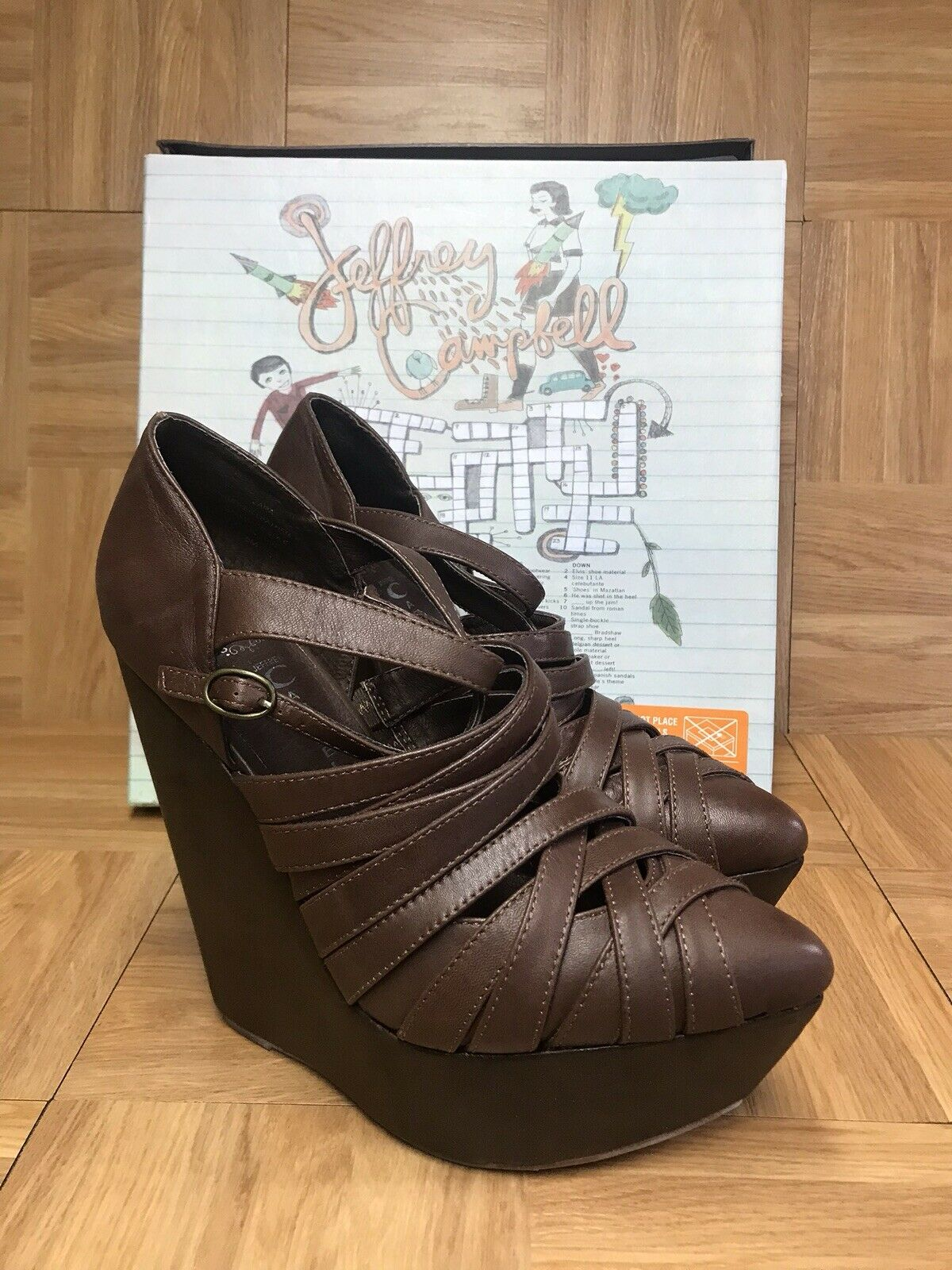 RARE Jeffrey Campbell ZARA Wedge Sandal Brown Leather Platform Sz 8 JEFFC40034