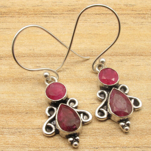 """925 Silver Plated Red Simulated RUBY Facetted Gemstone Earrings 1.4/"""" Jewelry"""