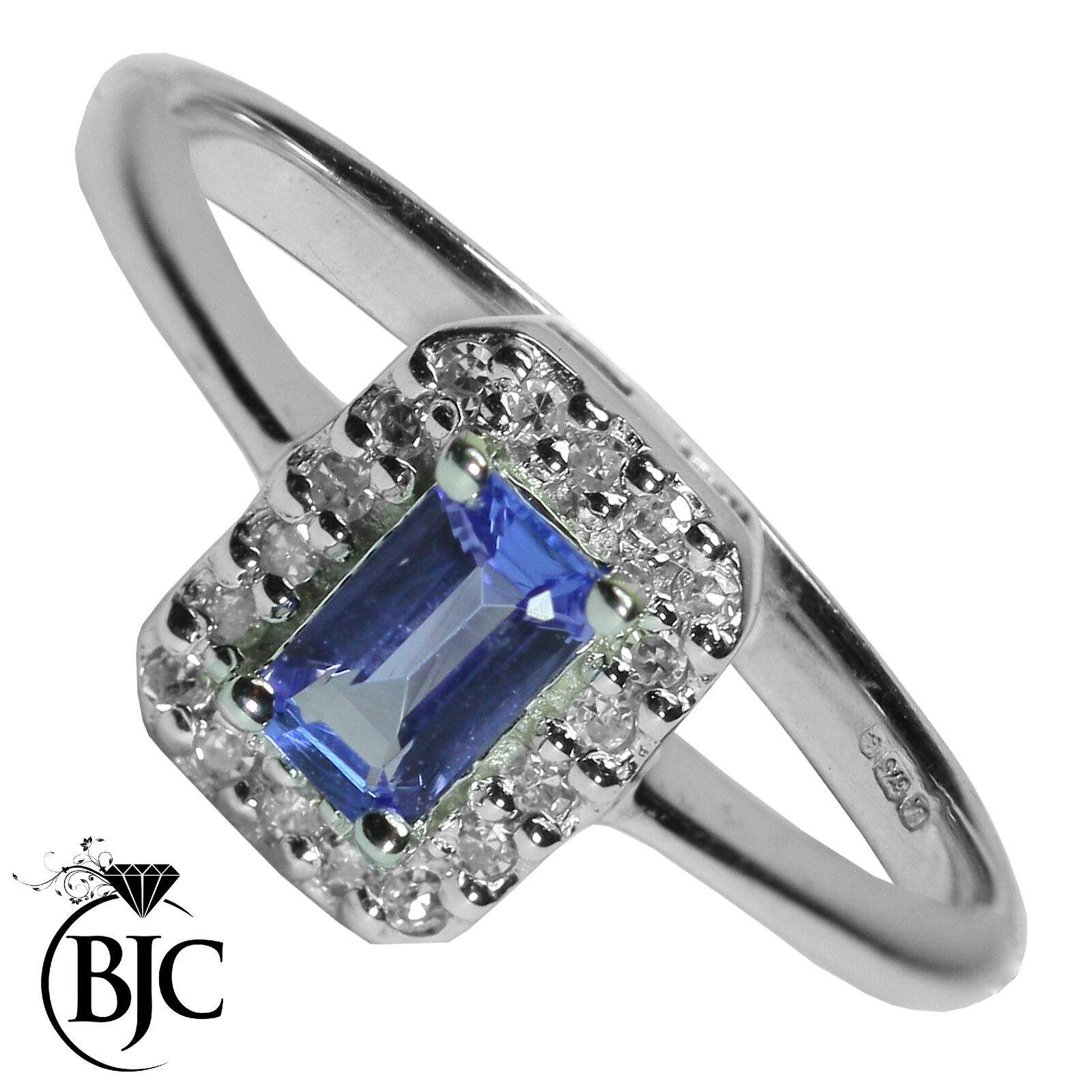 Bjc 9 Karat Weiss gold Tansanit & Diamant Klaster SIZE L Verlobungsring R25