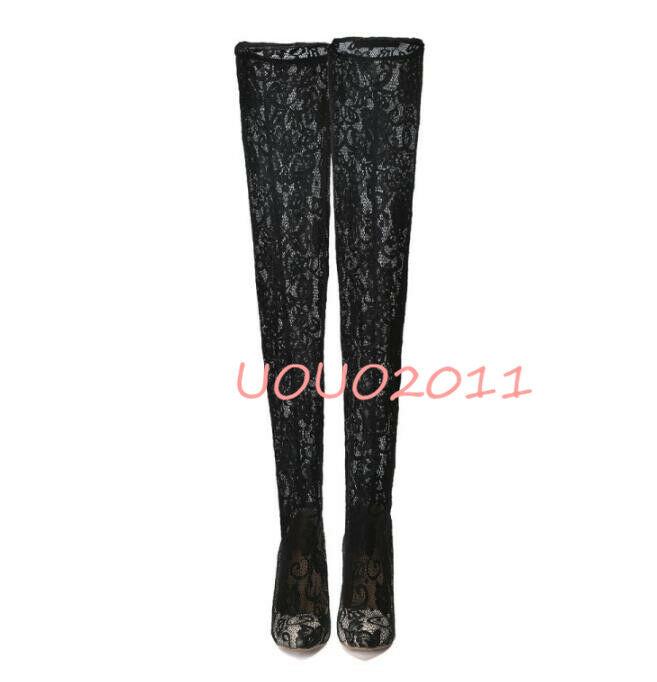 Women Sexy Lace Flower Over The Knee Thigh Thigh Thigh High Boots Pointy Toe High Heel shoes 04af98
