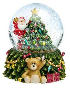 SIKORA SK12 Glas Kinder Schneekugel Weihnachtsbaum bunte LED Beleuchtung D:65mm