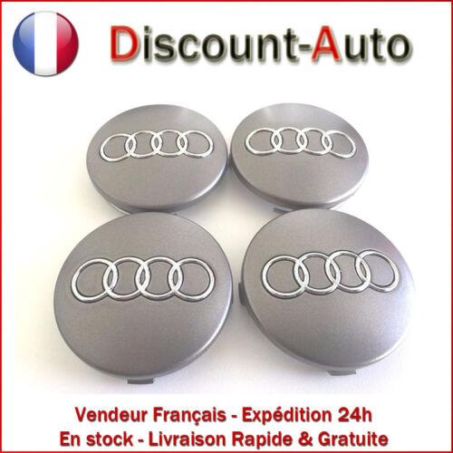 neuf x4 centres de roue Gris 60mm emblème Audi cache moyeu