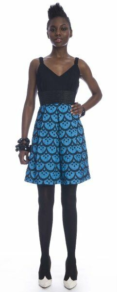 Frock by Tracy Reese Alison Electric Blau schwarz Silk Taffeta Dress 6