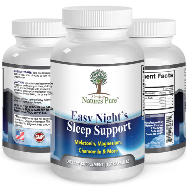 Easy Nights Sleep Support Aid with Magnesium Melatonin Valerian Root + Chamomile
