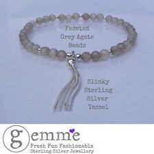 Beautiful Faceted Grey Agate beaded bracelet with Sterling Silver Tassel Charm