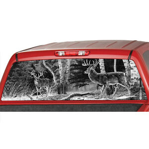 DEERs In A FOREST Bw Window Graphic Tint Decal Sticker Truck Jeep - Rear window hunting decals for trucksdeers in a forrest bw window graphic tint decal sticker truck