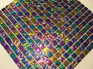 Purple rain glas mosaik fliesen gold pink gr n blau lila purple perlmutt effekt ebay - Mosaik fliesen grun ...