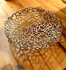 runde Aluminium Deko-Schale silber Schale Deko Tischdeko Obstschale 33 cm