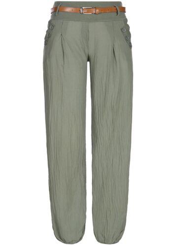 50/% Off b18047394 Femmes Violet Pantalon d/'été Harem Style poches ceinture Army Vert